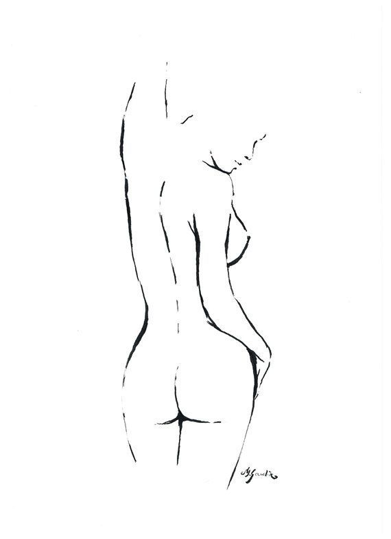 Art Print - Nude Femininity No.13 - fine art print after an original ink drawing of a minimalistic female nude by Milena Gawlik