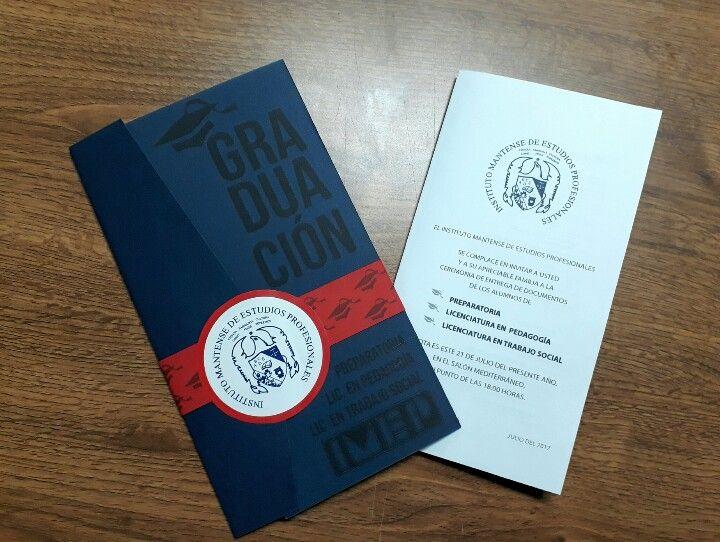 elegante y creativa invitacion de graduaci u00f3n universitaria  imep azul y rojo  graduacion jair