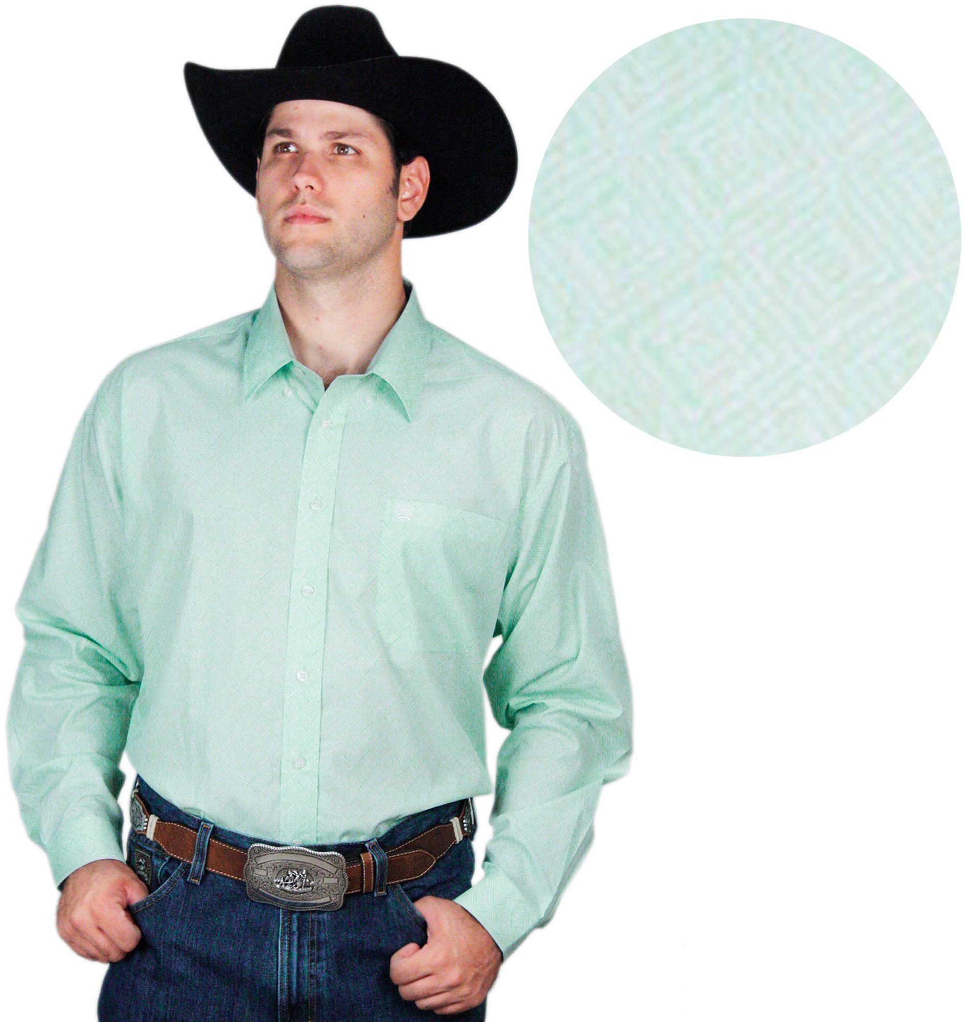 2083131c9842c camisa masculina Manga Longa Verde Claro Cinch camisa masculina manga longa  na cor verde água, bolso frontal e tecido 100% algodão.