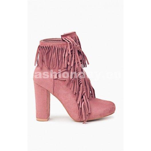 ca265f96ef Ružové dámske jarné čižmy so strapcami - fashionday.eu
