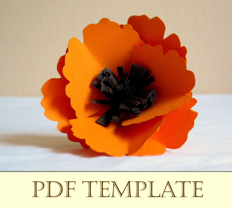Poppy Paper Flower - Printable PDF Instructions And Template Free Paper Flower  Templates, Templates Printable