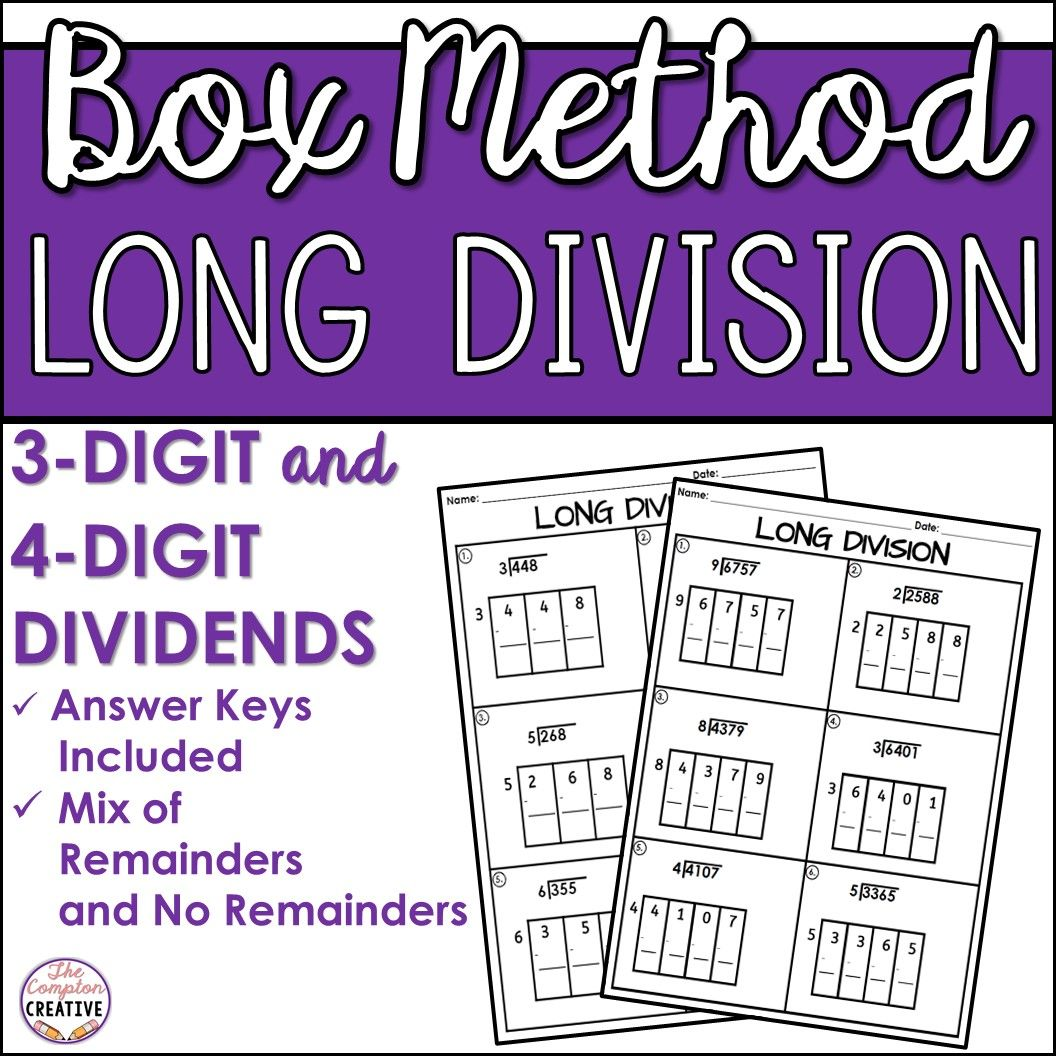 Box Method Long Division Worksheets