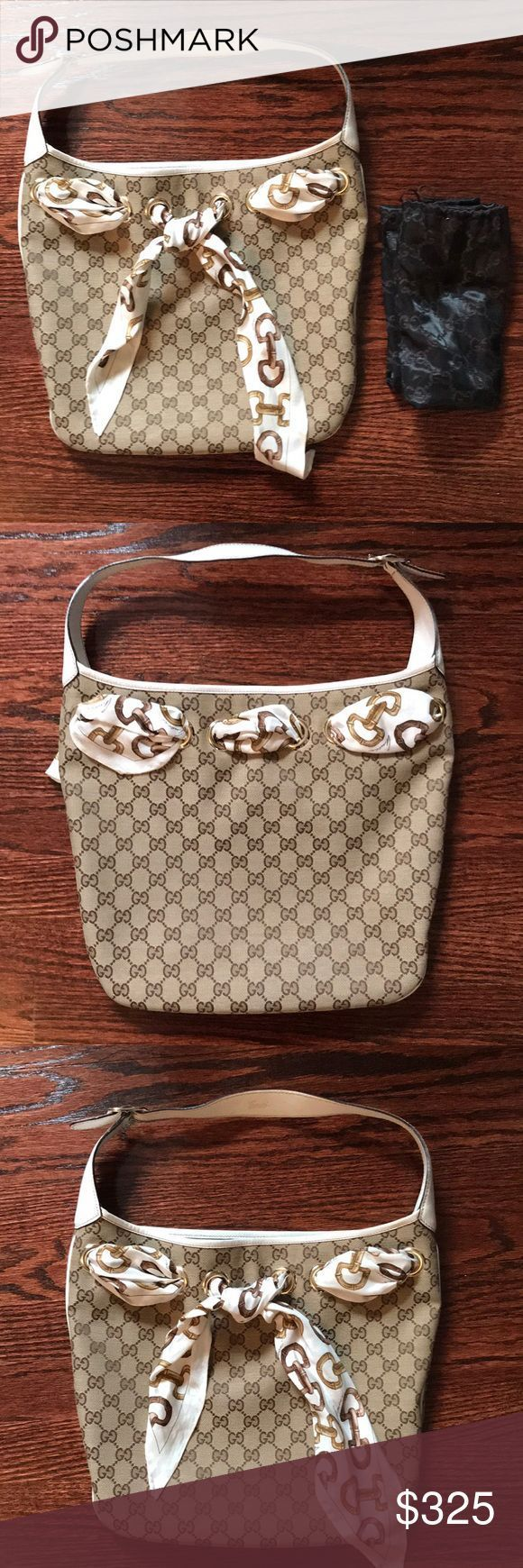 Gucci Monogrammed White Leather Bag Bamboo Scarf Authentic Gucci Monogrammed S Gucci Monogrammed White Leather Bag Bamboo Scarf Authentic Gucci Monogrammed S