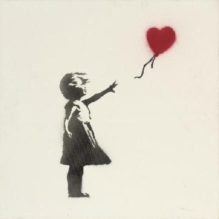 Balloon girl, 2003, BANKSY, Peinture - Dimensions : 41 x 41 cm- Pochoir à la bombe sur toile - Signée.