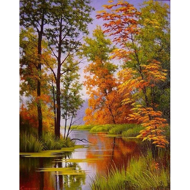 River Tree Full Square 5d Diy Paint By Diamond Kit Landscape Paintings Autumn Landscape Autumn Painting