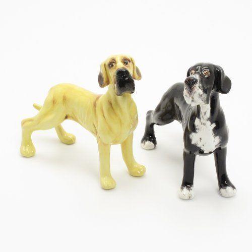 Crafts For Dog Lovers: Great Dane Dog Ceramic Figurine Salt Pepper Shaker UnCrop