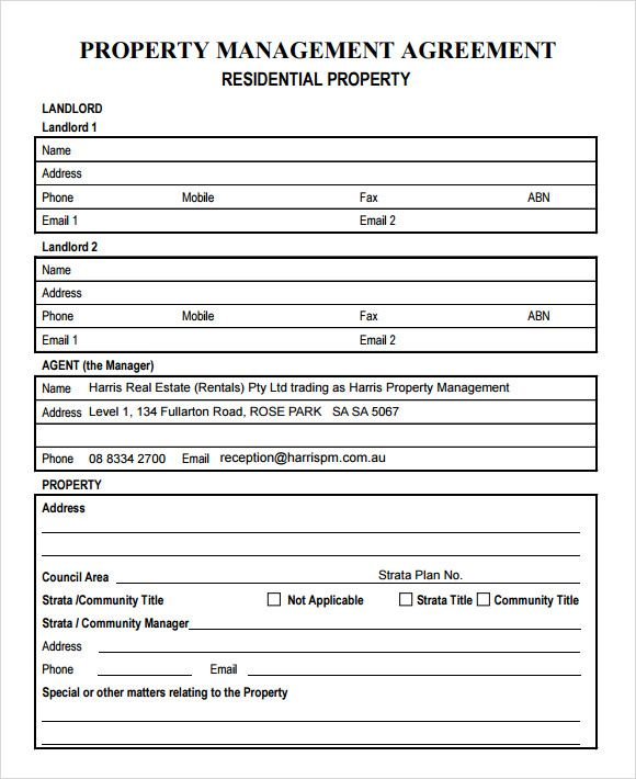 Property Management Agreement Download Free Documents Pdf