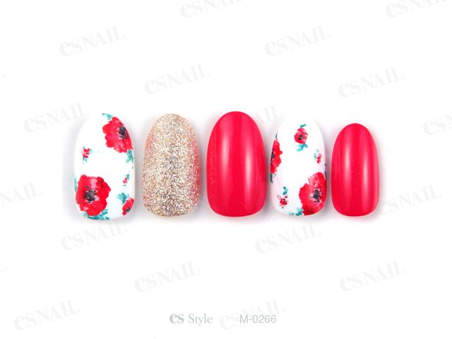 Nail design #gelnail #red and #white #flower #gold  雑誌掲載ネイル 0266