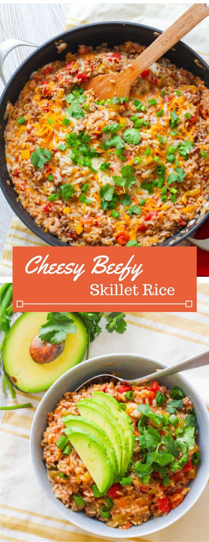 Cheesy Beef Rice Skillet Zen Spice Recipe Ground Pork Recipes Pork Recipes Recipes
