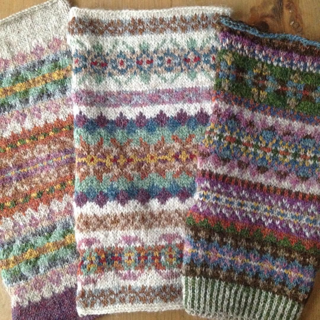 Knitted Baskets Free Patterns : Some very beautiful Fair Isles design by Marie Wallin Tricot Fairisles &...