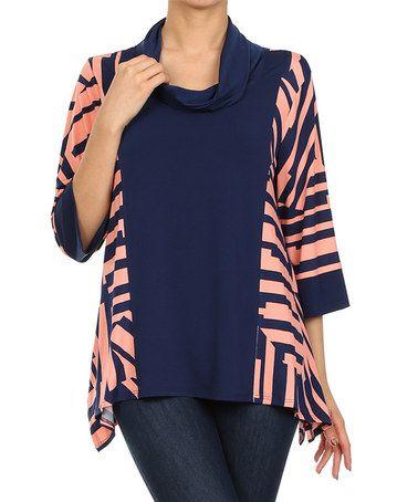 Love this Coral & Navy Stripe Cowl Neck Top on #zulily! #zulilyfinds