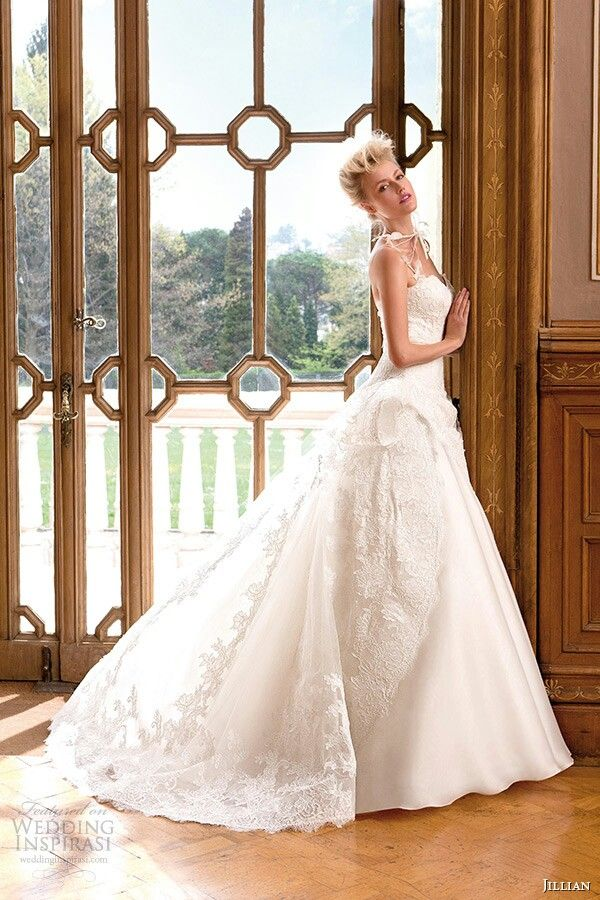 Lace, Tulle, & Chiffon Ball Gown by Jillian Bridal 2015 (Side View ...