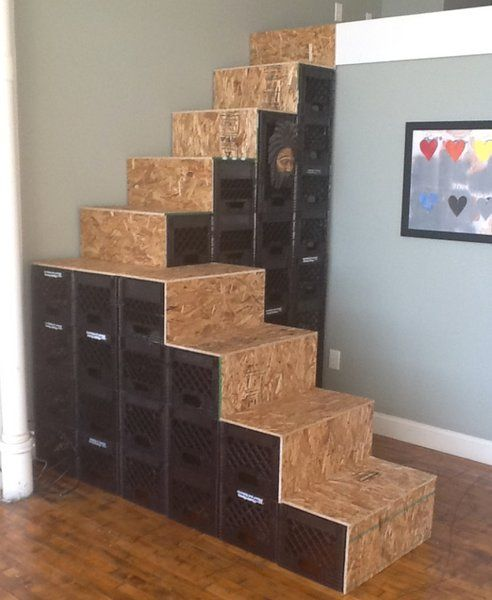 Inspired Treehugger Reader Builds Stair Out Of Milk Crates Milk Crate Shelves Milk Crate Furniture Crate Furniture