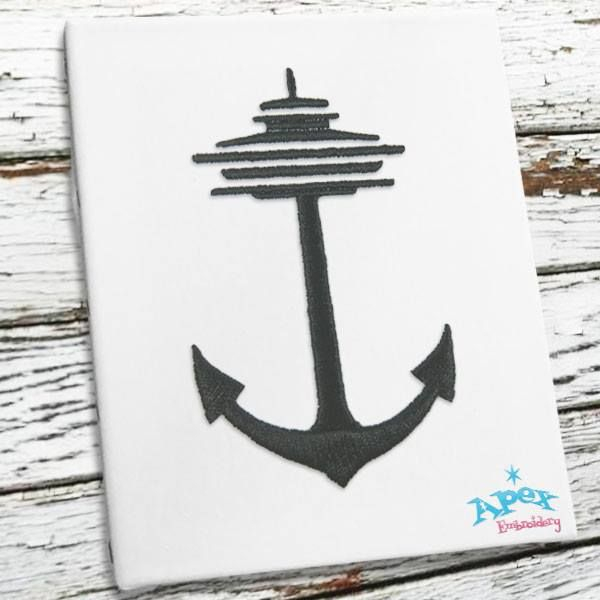 Seattle Anchor Embroidery Design You Get 3 Sizes 2 3 4