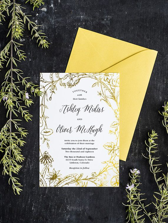 This botanical theme wedding invitation PDF, features native flora