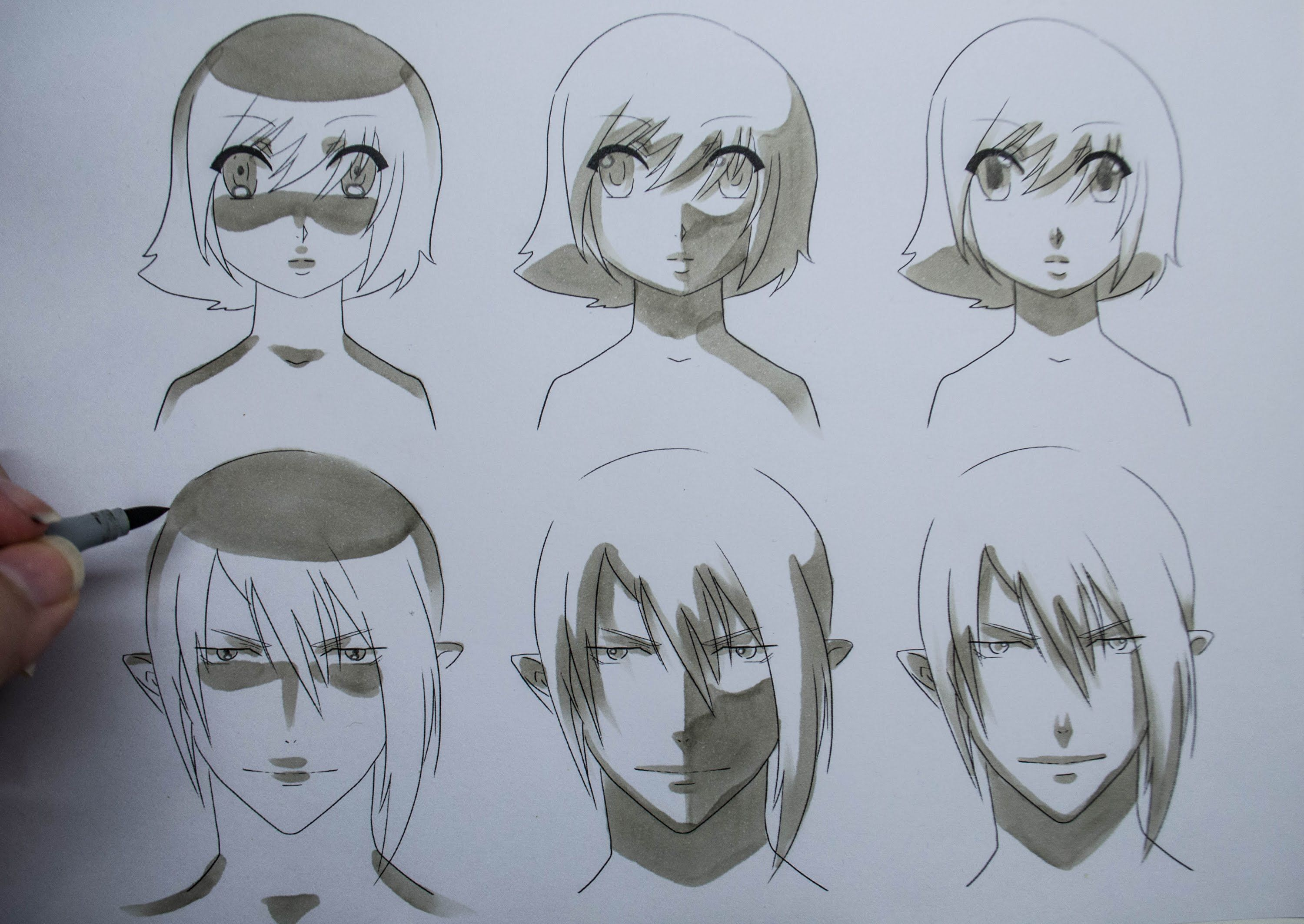 How To Draw Manga Shading Manga Faces Three Different Ways Manga Drawing Drawing People Drawings