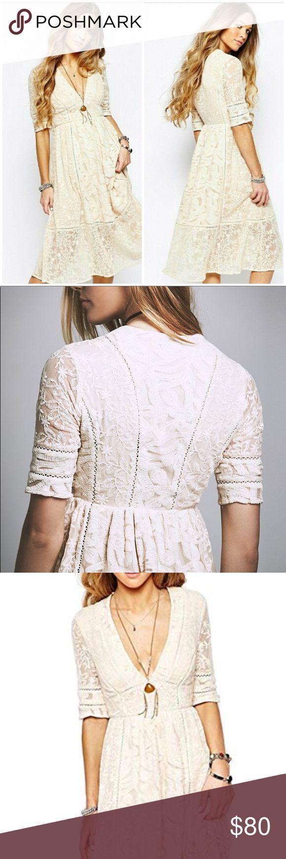 Free People Mountain Laurel Ivory Midi Dress Sz 6 Gorgeous ...