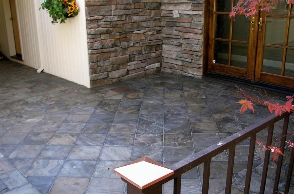 Slate Porch Tiles Laid On Diagonal Exterior Tiles Porch Tile