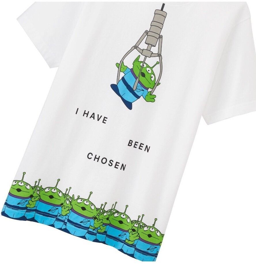 db7ace9a5 UNIQLO UTGP Pixar Toy Story Green Alien I have been chosen men's Disney t- shirt.