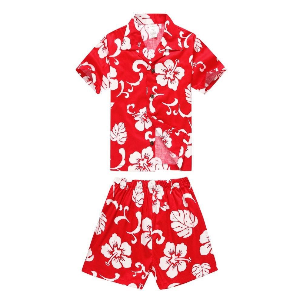 ca54f511 Boy Cotton Cabana Set Shirt and Shorts in Red Hibiscus | The Red ...