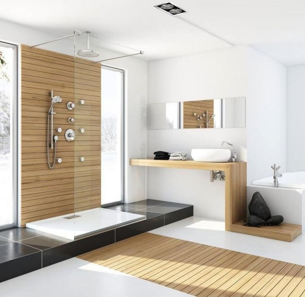 Inspiring Decor For Modern Bathroom With Unfinished Wood Bathrooms Design  With Sharp Ornament