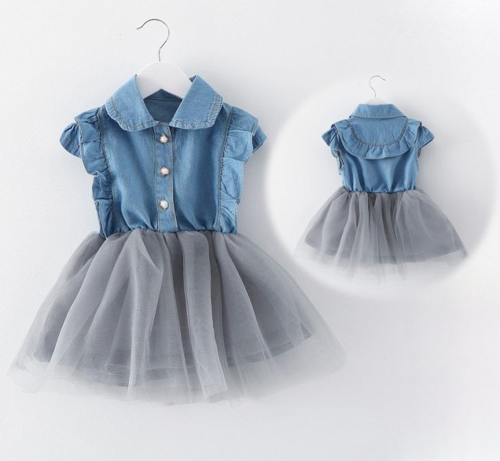 Джинсовое детское платье фото