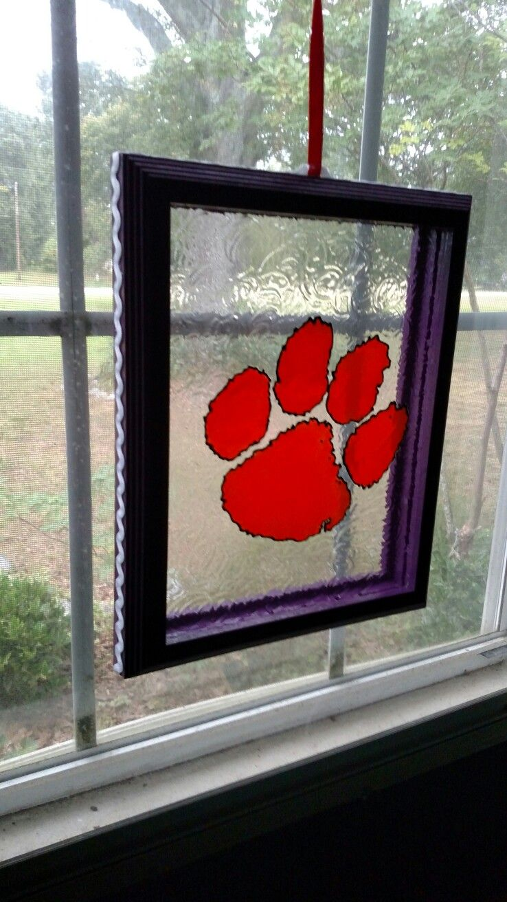 Faux stained glass from old picture frames! Go Clemson Tigers! Sun ...