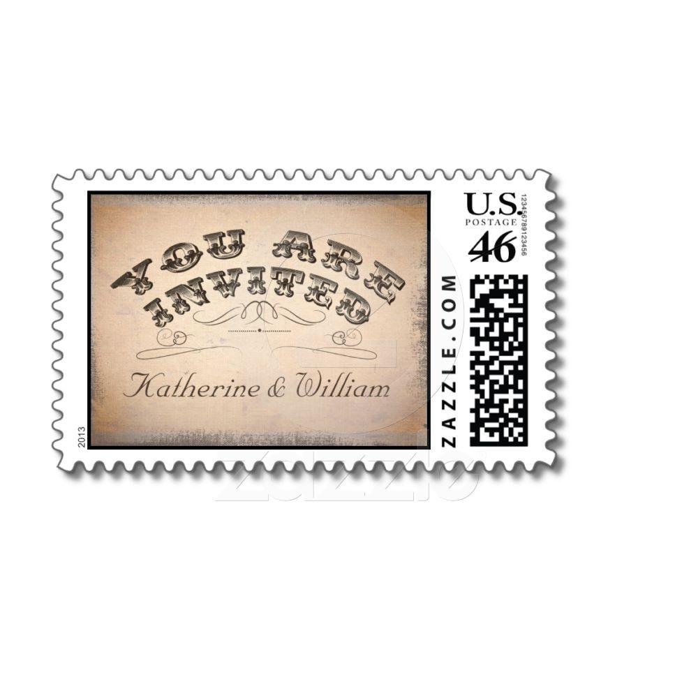 sellos postales de la tipografía hermosa del vinta de Zazzle.com