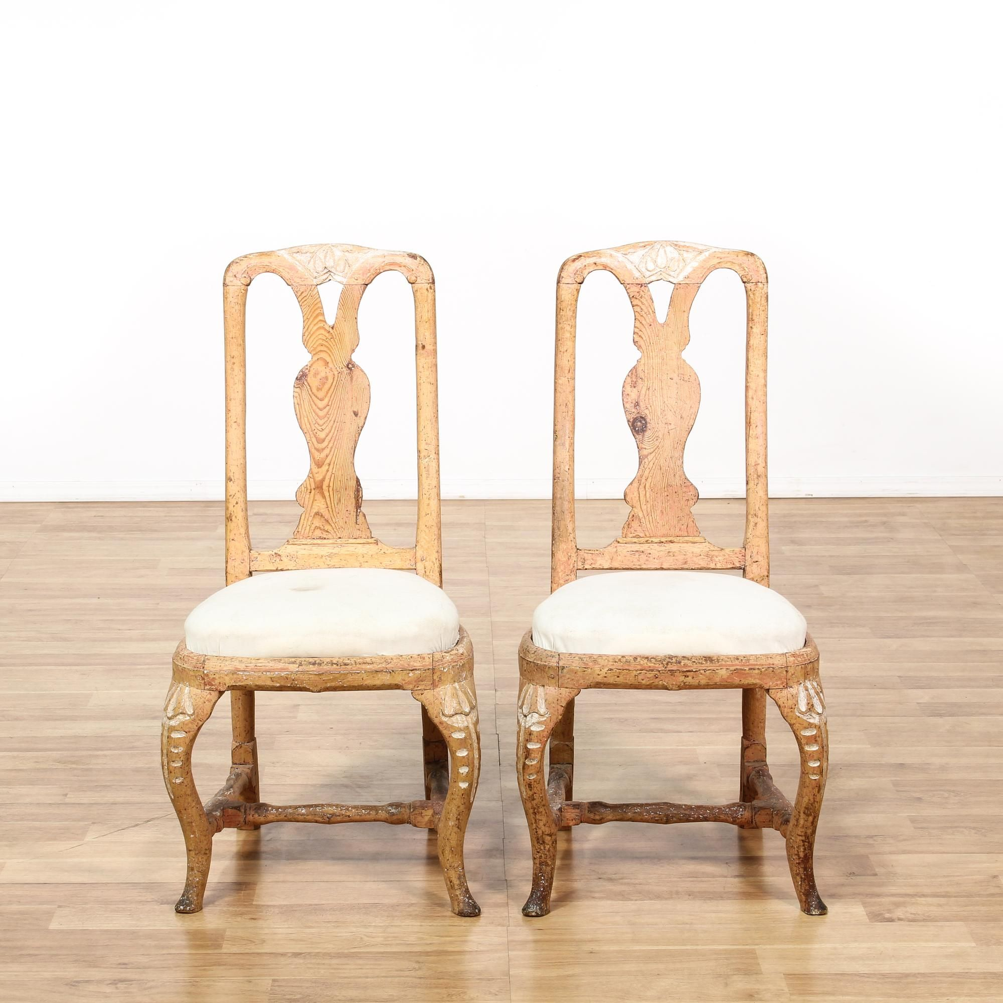 This Pair Of French Provincial Chairs Are Featured In A Solid Wood With A  Raw Light