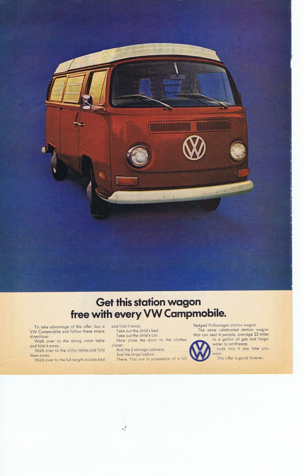 Volkswagon Campmobile Red Van Original FREE
