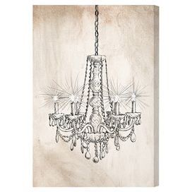 Hang this artful canvas print above your living room seating group to create a stylish conversation space, or display it in the foyer for eye-catching appeal. Crafted in the USA, this chic design showcases a chandelier motif.  Product: Canvas printConstruction Material: Canvas and woodFeatures:  Arrives ready to hangIncludes a certificate of authenticity by the artistHanging hardware included  Cleaning and Care: Dust lightly using a soft, clean, lint-free cotton cloth