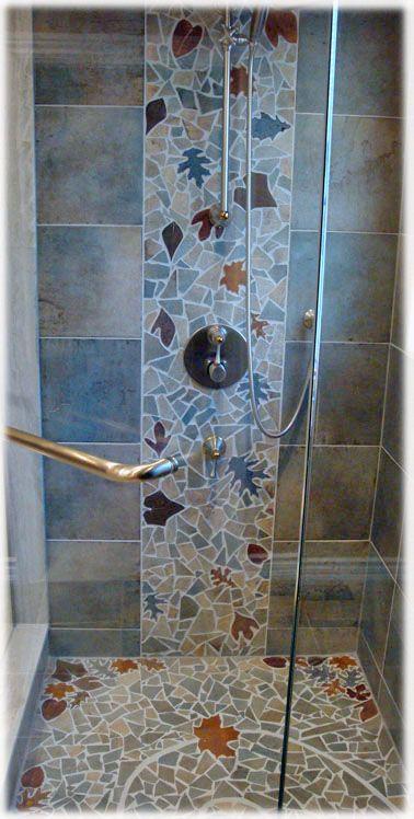 leaves shower tile bathroom floor