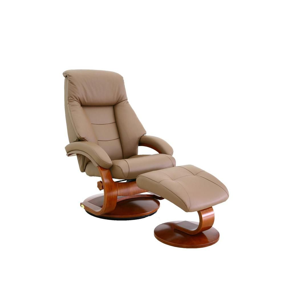 Relax R Montreal Sand Top Grain Leather Recliner And Ottoman With