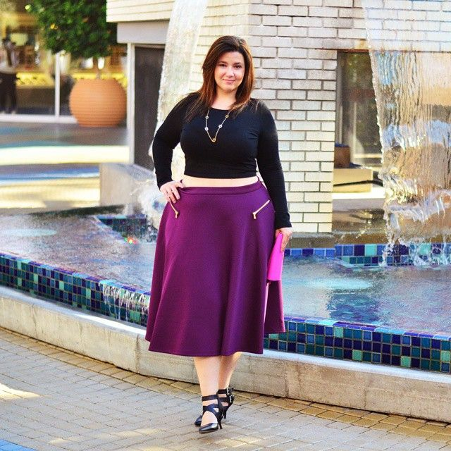 sometimesglam looking gorgeous in the plum | Scuba Midi Skirt ...