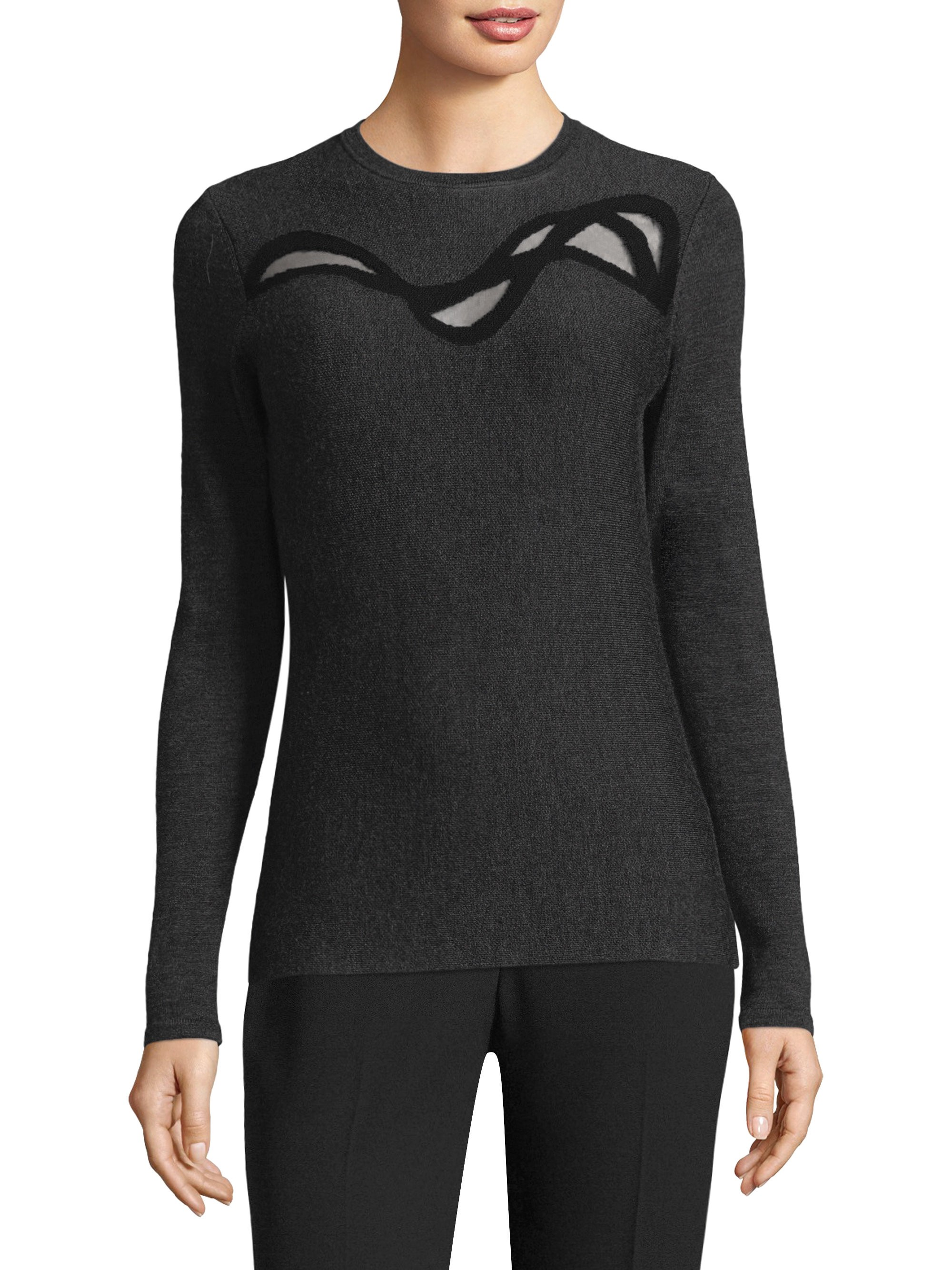 df840559a2 Elie Tahari Textured Merino Wool Sweater - Charcoal Melange X-Small ...