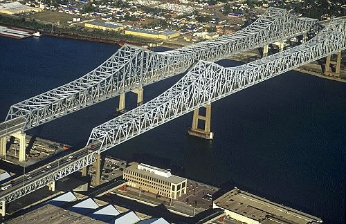 Bridges in New Orleans Louisiana | Aerial photo of Downtown New Orleans Bridges, New Orleans, Louisiana ...