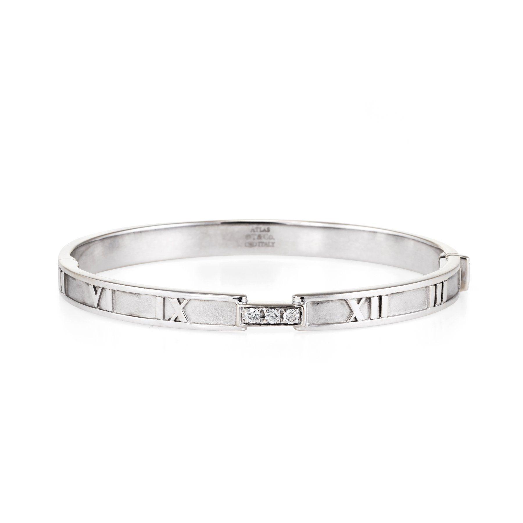 ed10a6ec3 Tiffany & Co Atlas Diamond Closed Hinged Bangle Bracelet | Products ...
