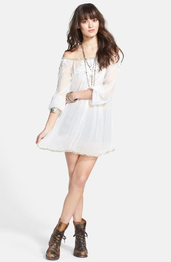 Free People Embroidered Off Shoulder Tunic Top
