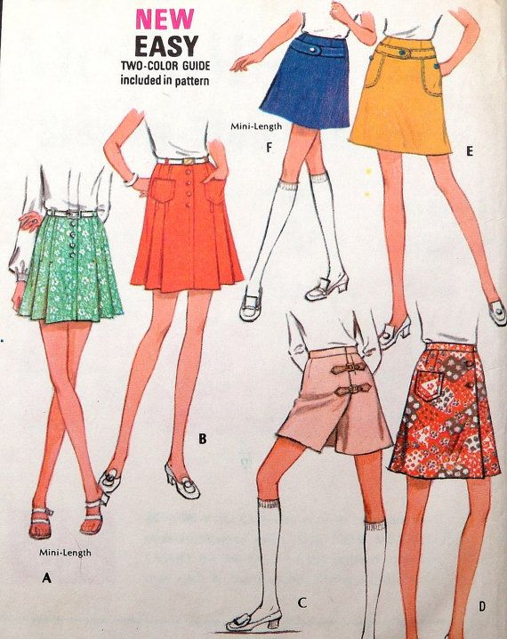 Mini Skirt Pattern Culottes Front Flap 1970s by WildPlumTree, $6.00