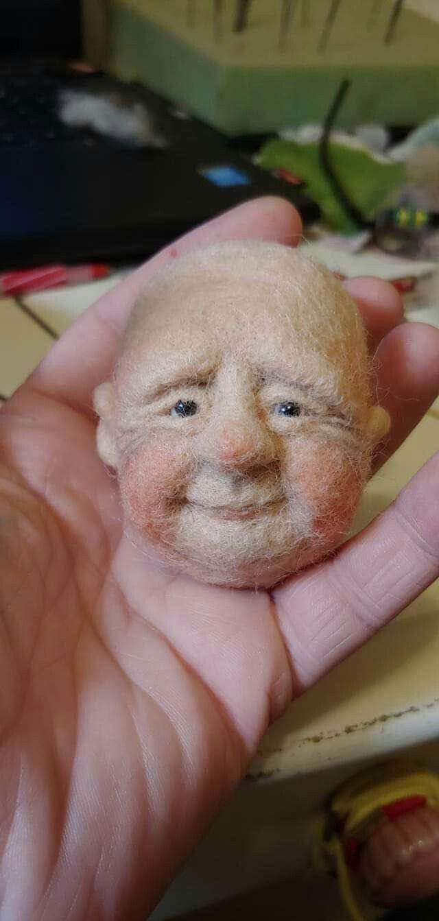 Found on Pinterest Needle felted face #needlefeltedcat