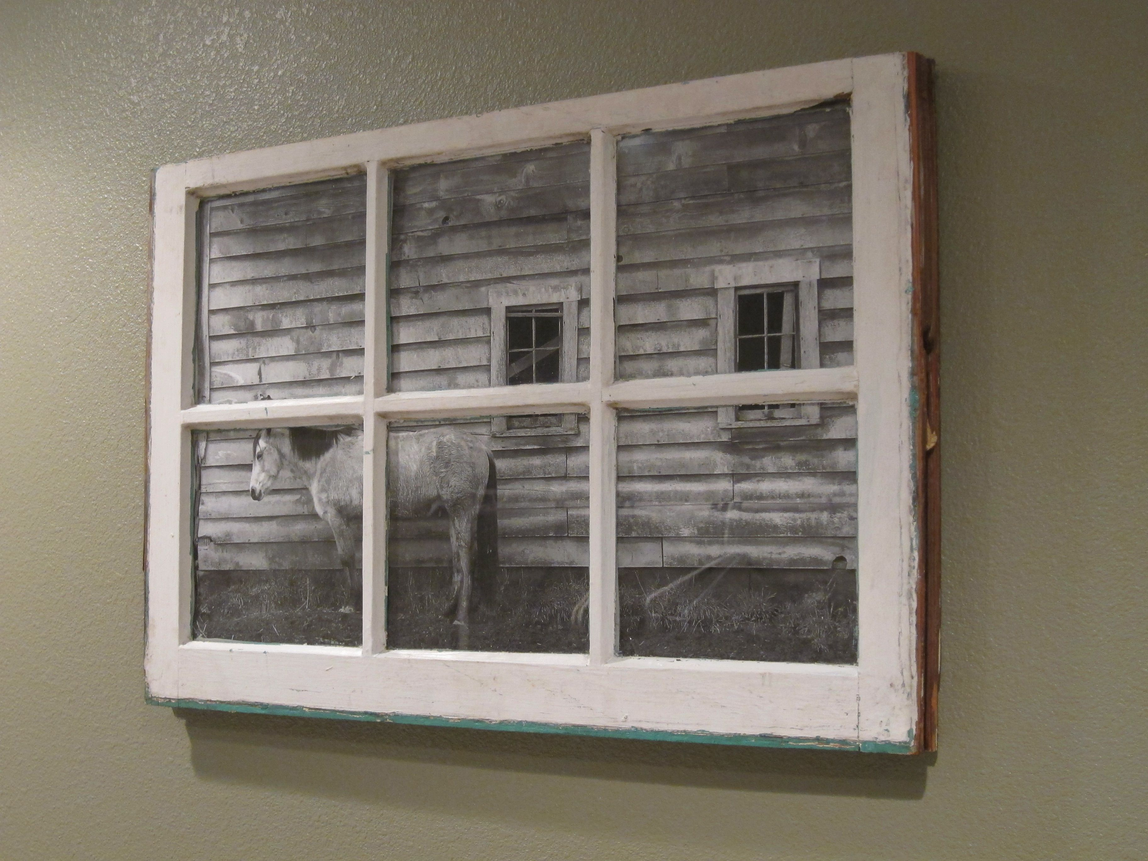 3 pane window ideas  found this old window and used one of our our pictures team hymas