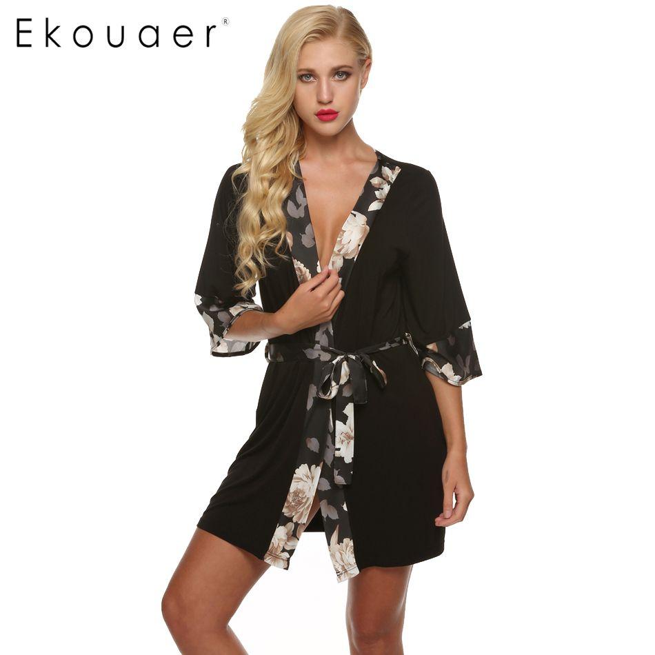 Ekouaer Vrouwen Badjas Sexy Kimono Robe bloem Korte Lingerie Babydoll Nachthemd Rayon Zijde Nachtkleding Jurk V-hals badjas