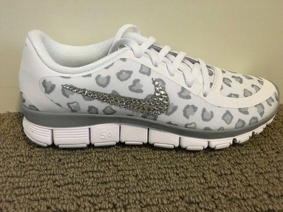 cfc77b38867da Blinged Out Women s White Nike Free Run 5.0 V4 Leopard Cheetah Print ...