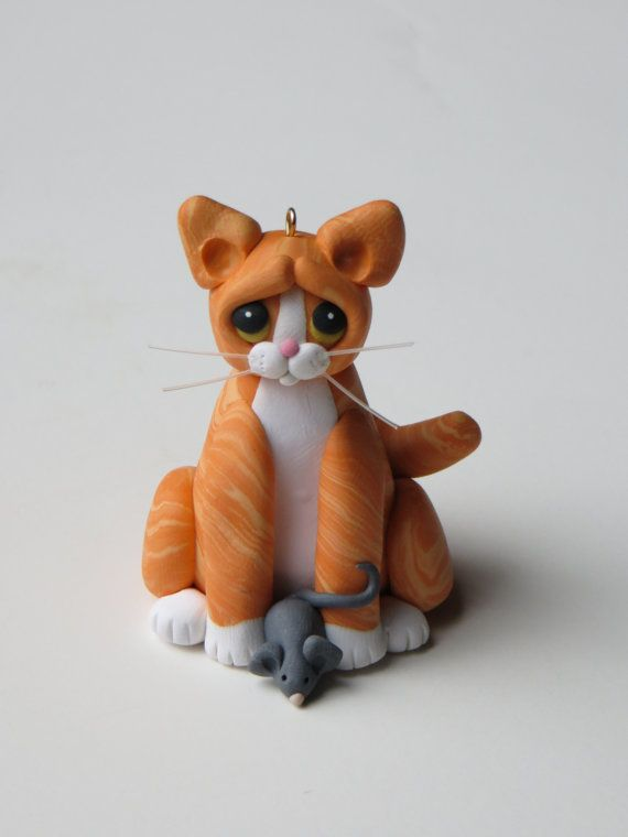 Orange Tabby Cat Figurine Ornament Polymer Clay by HeartOfClayGirl, $16.95