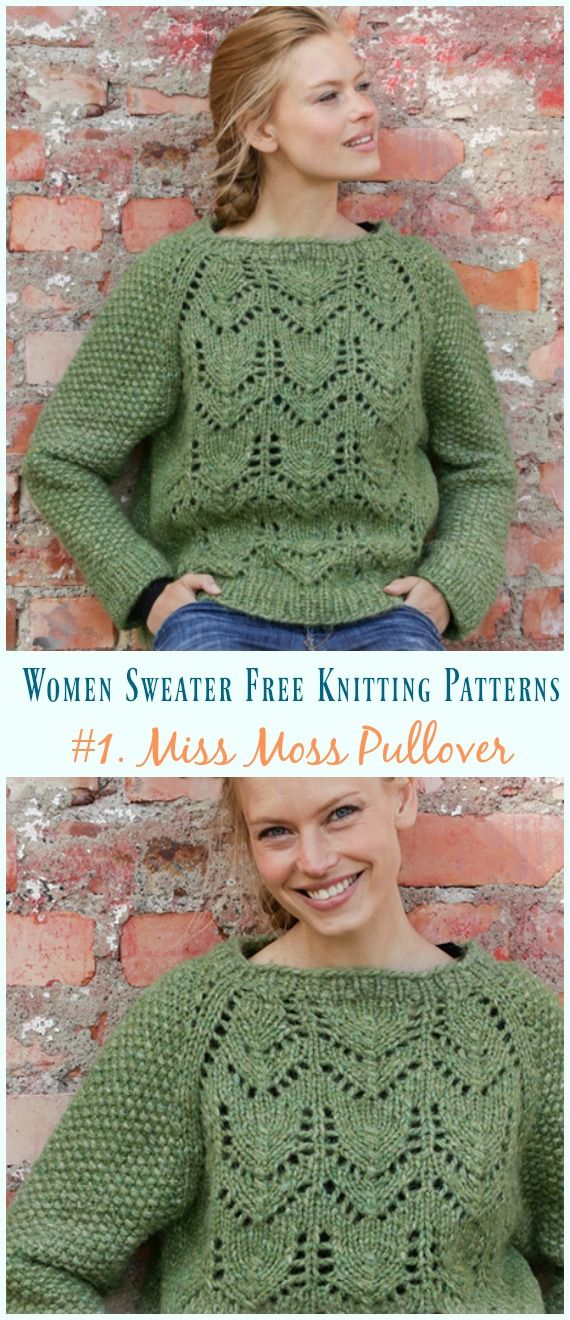 6b3b7d96134e Miss Moss Pullover Sweater Knitting Free Pattern - Women Pullover  Sweater   Free  Knitting  Patterns