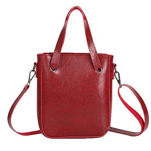 ab462c0bb4 Retro PU Leather Zipper Shoulder Bag Handbag Tote Messenger Bag Crossbody  Bag For Women and Girls (Red)