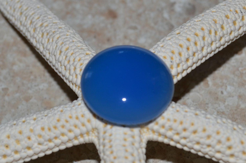 Blue agate cabochon
