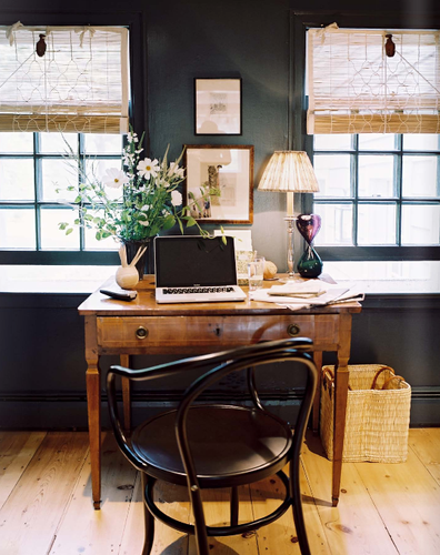 Perfect Little Desk. People, stop buy that ugly things that hold your computer. You don't Have TO! Just repurpose another table. Turn them around off the walls too, like a real office.