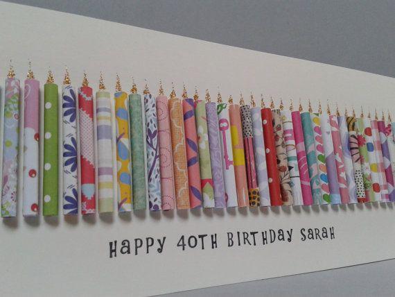 gro e 40 geburtstag kerze karte kann mit einem namen geburtstagskarten 40th birthday cards. Black Bedroom Furniture Sets. Home Design Ideas