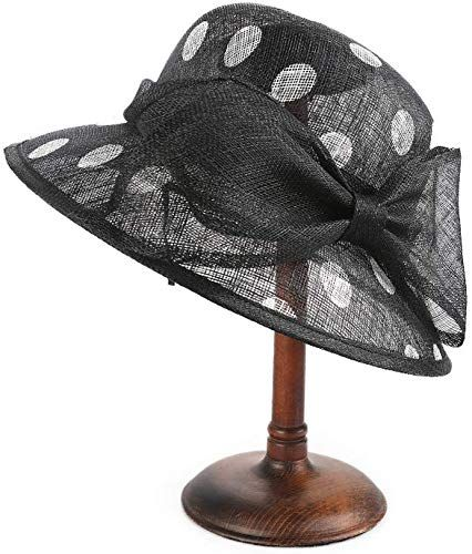 Buy Urchart Women Ladies Church Polka Dot Bowknot Cambric Sun Hat Fascinator Ascot Race Kentucky Derby Occasion online #fascinatorstyles